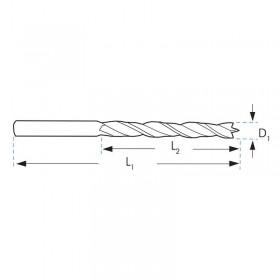 Broca madera extra larga HSS 6x400 mm