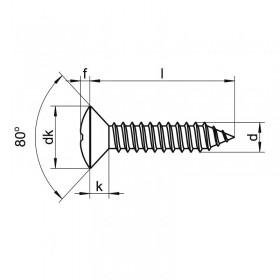 Tornillo 3,5 x 19 pavonado cabeza gota de sebo (8 unidades)